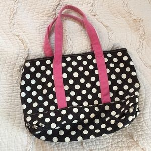 J.Crew Purse Tote Canvas Black Pink Polka Dot